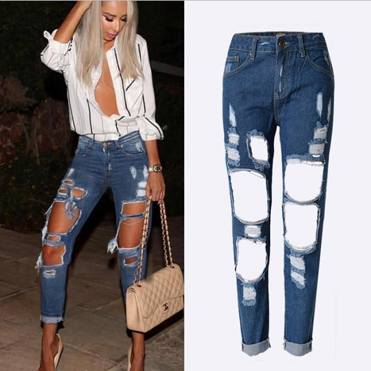 Women's Fashionable Big Hole Ripped Style Boy Friend Denim Jeans Pants