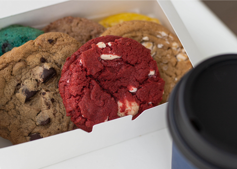 boxed cravory cookies with coffee