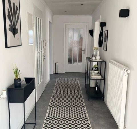 modern black and white entrance to home