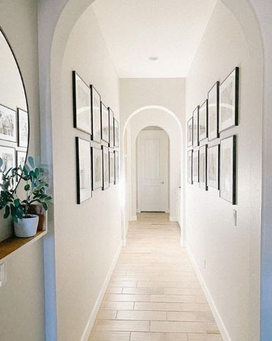 hallway with spotlight and white walls