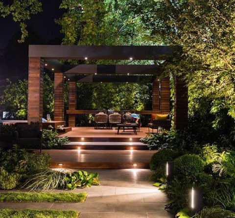 dark garden surrounded by trees with floor spotlights
