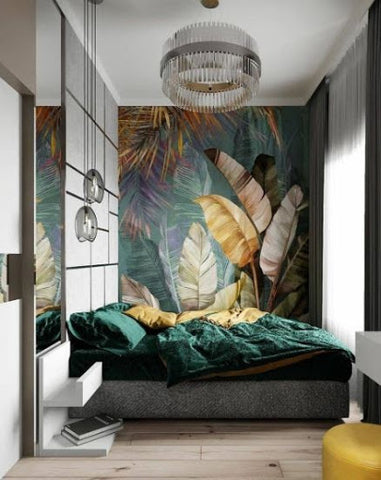 green bedroom with crystal chandelier pendant ceiling light
