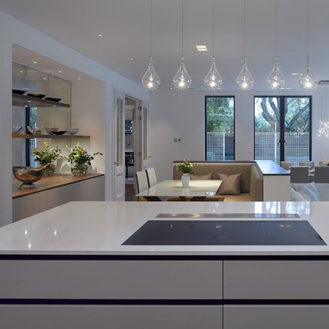 modern kitchen with pendant bulbs
