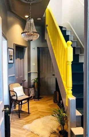 classy vibrant staircase in hall