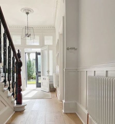 fresh open hallway with natural light and white features