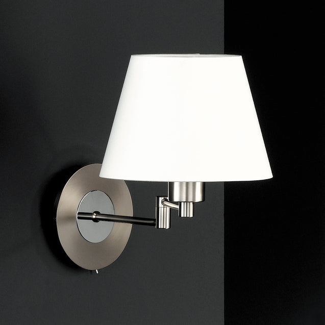 Navigare Connecticut Wall Light 1 Light Source Matt Nickel/Chrome