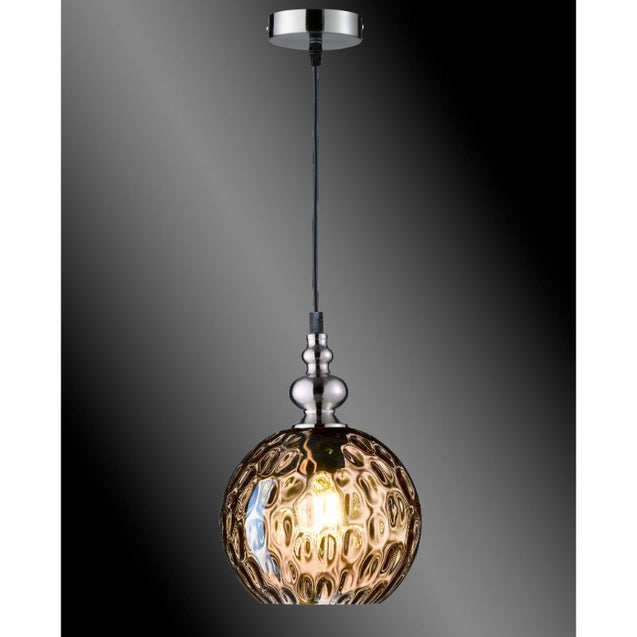 Navigare Tennessee Pendant Light 1 Light Source Matt Nickel With Antique Amber Glass