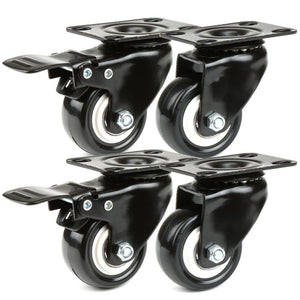 14x Black Rubber wheels Diameter 50mm 2 wheels with brakes + 2 wheels no brakes