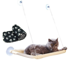Window mounted cat basking hammock + cat blanket suction cup hanging bed & pet blanket for cat perch