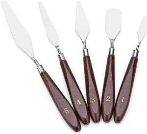 5 Piece Set of Stainless Steel Palette Knives with Wooden Handles Oil Painting