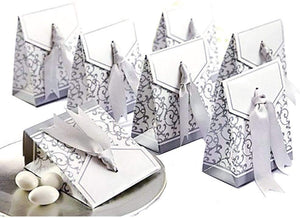 50 Silver wedding favour box paper small gift box for wedding birthday baby shower christening