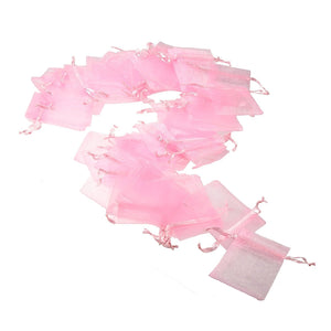 50x Pink organza bags party favour bags confetti bags small gift bags 7x9 cm for candy small jewelry