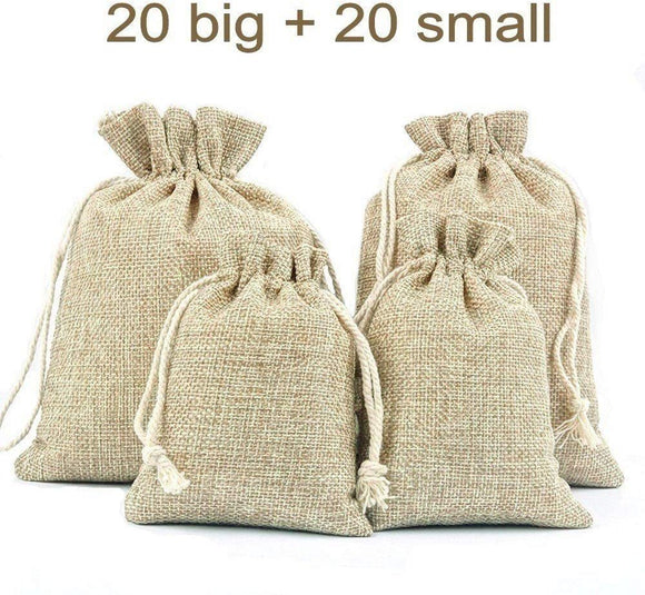 40 x Vintage burlap jute party favour bags small drawstring bags for sweets jewelry gift dry flower