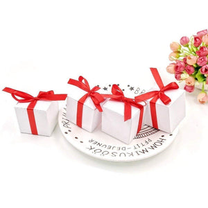 50 Blank white wedding birthday paper sweet boxes with red ribbons