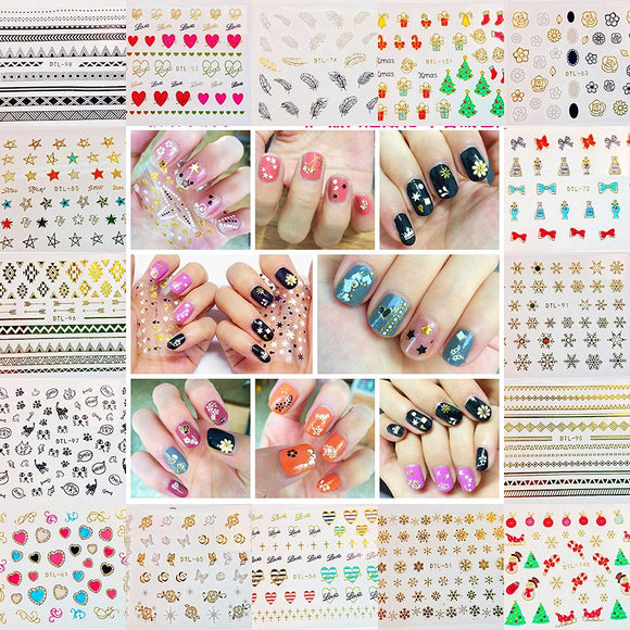 32 sheets  3D nail stickers flower Christmas gold black white  art decorations  party accessory