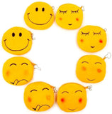 8 x Plush Emoji Coin Purse 11 cm Small Pouch Velvet Zipped Emoticon Bag Birthday Gift for Kids
