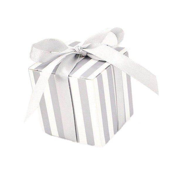 50 x Silver stripe party wedding favour boxes gift box sweets confetti jewelry birthday baby shower