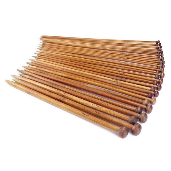 14 Inch,18 Different Sizes (2MM-10MM) Collection Set of 36 Single Point Bamboo Knitting Needles