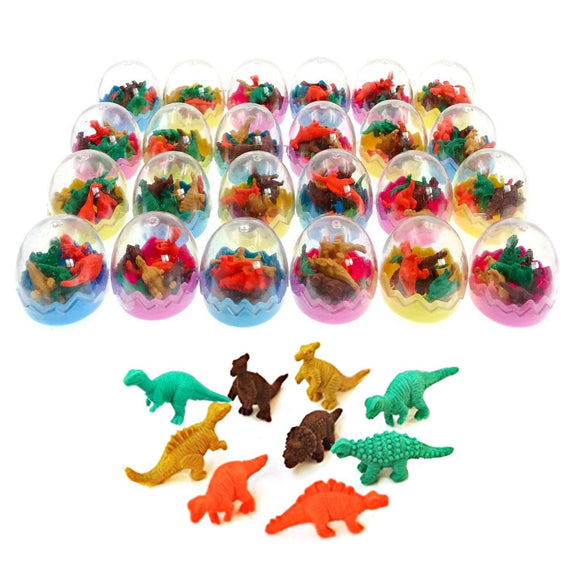 24 Dinosaur eggs with little rubber dinosaur toy mini eraser for children party kids fillers gift