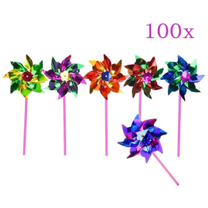 100 X Waterproof foil windmills outdoor toys for children