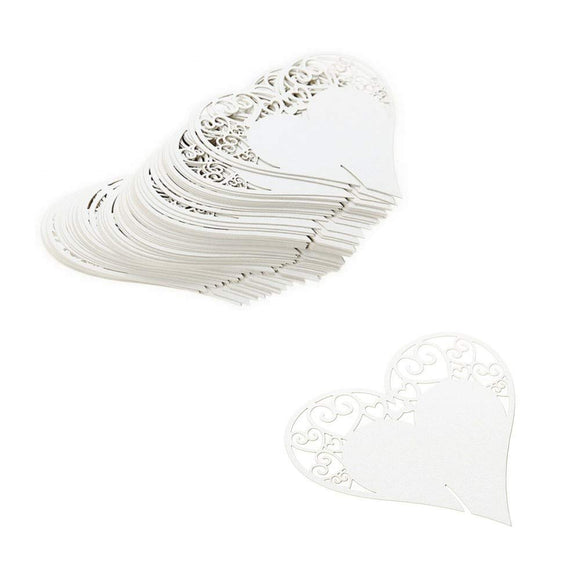 100 x Pearly white heart on wineglass name card table number decoration
