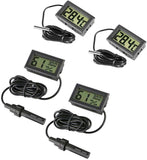4 x Small digital aquarium thermometer hygrometer with probe & battery, water temperature gauge
