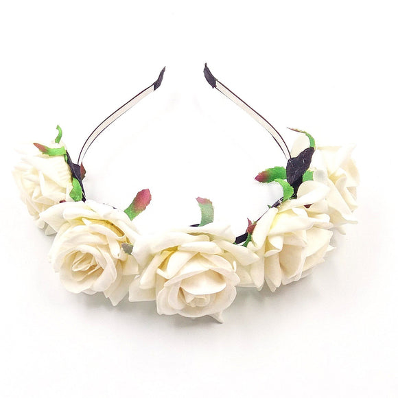Wedding flower girl bridesmaid bride rose flower tiara headband children and adult hairband, white