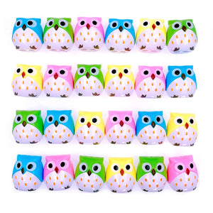 JZK 24 x Novelty two holes pencil sharpener with container owl toy for children birthday favours kids party bag filler thank you gift game prizes for girls boys