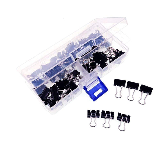 60 Black 15 mm mini office foldback clips small metal paper binder clip paper clip bulldog clips