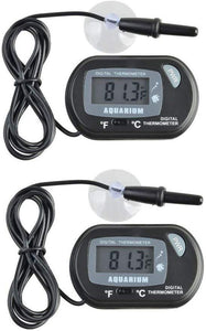 2 x Small digital aquarium thermometer with suction cups & probe & battery