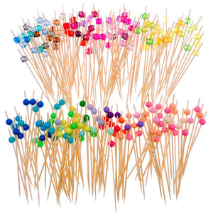 200 Bamboo Wooden Cocktail Stick with Colourful Acrylic Bead 12cm Long Toothpick Party Nibbles Tapas