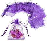 50 x Purple Organza Party Favour Bags Confetti Sweets Bag 12x9 cm Small Drawstring Bags for Wedding