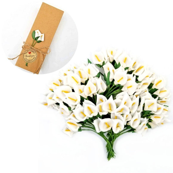 144 White Calla Lily Small Artificial Flowers for Gift Box Decoration Wedding Birthday