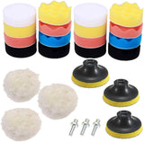 Set of 25 car polishing sponge pads kit, 3inch 8cm car polisher pads with M10 drill adapter