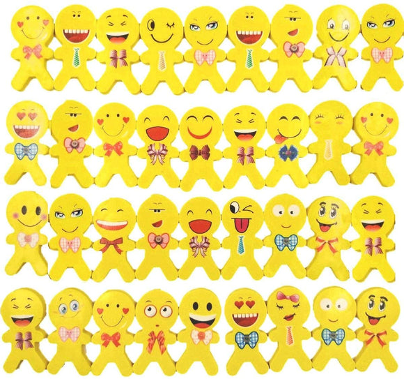 36 pieces Emoji Erasers with smile laughing shy facial expression, Novelty Rubbers Gifts for Kids