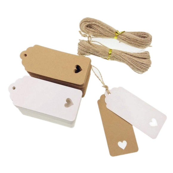 100 White & 100 Brown Heart Kraft Paper Gift Tags + 40M Jute Twine String, Price Luggage Tags