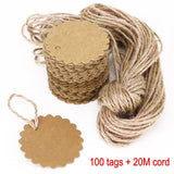 100 paper gift tags kraft paper+20m jute string price tags luggage gift labels birthday kraft card