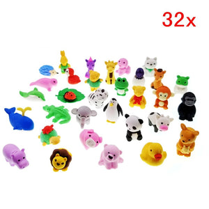 32 Detachable mini rubber animal toy  pencil eraser set