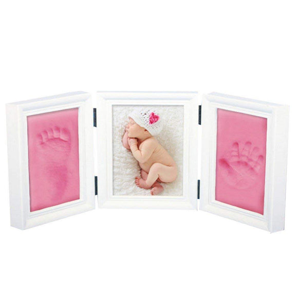 JZK Pink Clay Handprint Footprint Picture Frame kit Clay photo Frames Girls Boys Baby Shower Gift