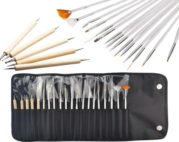 20 pcs Professional nail Art Brushes Pen Tools set with Wooden punteggia Design Paint Brush set kit