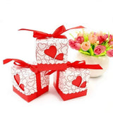 50 Red Heart Wedding Favour Box Sweet Box Gift Box for Wedding Birthday Baby Shower Christening