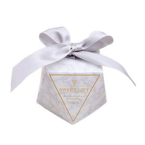 50 Diamond shape favour boxes with ribbons paper sweets box for wedding birthday graduation party