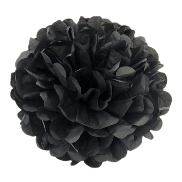 10 x 10 inch 25 cm, tissue poms pompoms decorations  wedding Christmas party supplies (black)
