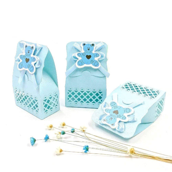 24 x Blue baby shower favour box boy sweet box for baby boy birthday party christening baptism