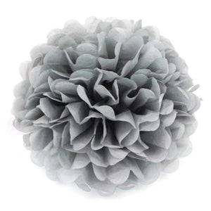10 x 10 inch 25 cm tissue pompoms decorations birthday grey flower balls