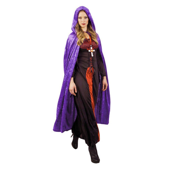 Men women purple hooded cloak long velvet cape with hood robe Halloween costume party witch costume