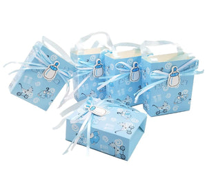 24 x Blue baby shower favour bag boy sweet bag mini party paper bag for baby boy birthday party