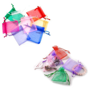 100 x Colourful Organza Party Favour Bags Confetti Sweets 7x9 cm Small Drawstring Bags for Wedding