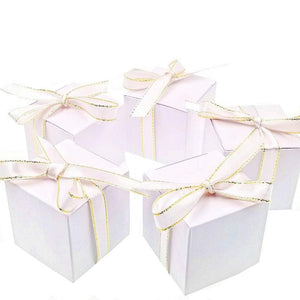 50 Blank white birthday party wedding boxes with filigree ribbons paper