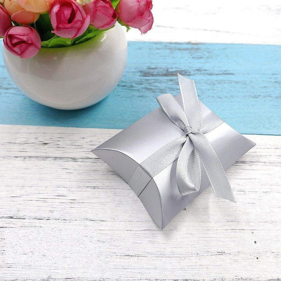 50 x Silver Pillow, Party Wedding Favour Boxes Gift Box for Sweets Confetti Jewelry Party Bags